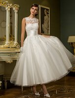 Wholesale Princess Petite Plus Sizes Wedding Dress Chic Modern Reception Little White Dresses Ankle length Jewel Tulle