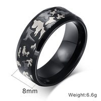 Wholesale Manufacturers OEM fashion Jewelry Luxury titanium steel camouflage Ring for men women black finger rings