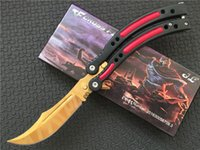 bowie knives - 7 styles CS GO irl butterfly knife Replica Cosplay Collectioners C steel clip point Tactical bowie balisong knives spring latch SHARP