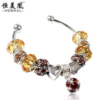 European amber jewelry for sale - amber DIY beads bracelet Holiday Sale European Style Silver CRYSTAL Bead Bracelets for Women Gift Jewelry colors