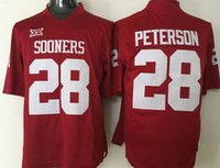 adrian peterson youth football jersey - Youth Oklahoma Sooners Adrian Peterson College Football Jerseys Red White Good Quality Size S M L XL