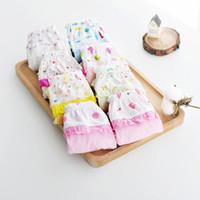 Wholesale Toddler Little Girls Combed Cotton Briefs Kids Underwear Princess Flounced Cartoon Printing Mixed Color Children Panties