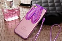Wholesale 3D Colorful Lovely Rabbit Ears Soft Clear TPU Multi Phone Stand Cases Cover Lanyard For Apple IPhone S