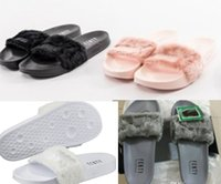 Wholesale RIHANNA LEADCAT FENTY Slippers Rihanna Leadcat Fenty Faux Fur Slide Sandal Fashions Women Fenty Slipper Black Slides Sandals Fenty Slide