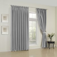 Wholesale Classic Solid Grey Double Pleated Top Blackout Curtains Drapes With Multi Size Custom