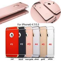 al por mayor color oro iphone-Ultra delgado 3 en 1 a prueba de choque de la contraportada rosa de oro de color lujo helada armadura caso para iphone 7 6 más Samsung s7 s7edge