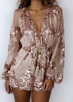 Wholesale Casual Elegant Jumpsuit - 2016100936 2016 Autumn Gold sequin embroidery elegant jumpsuit romper Transparent mesh sleeve playsuit women Deep v neck overalls