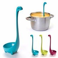 Wholesale Nessie Ladle Vertical Long Handle Plastic Spoon Dinosaurios Loch Ness Monster Nessie Spoons Cucharas Largas Louche De Cuisine