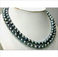 Wholesale 2016 new hot sell TAHITIAN REAL BLACK GREEN PEARL NECKLACE K quot MM