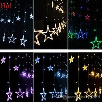 Wholesale Pop M LED Curtain Lights Home Outdoor Christmas Decorative Wedding Xmas String Fairy Curtain Stars Strip Party Lights EU Plug SV123122