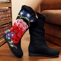 adhesive china - Fashion Women Embroidery Boots Peony Pattern Pteris China Wind Heavy Industry Embroidery Canvas Women Canvas Boots