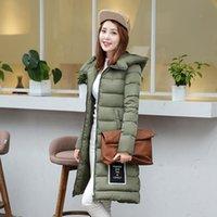 badge jacket - Long Down Jacket Women s New Korean Badges Fashion Slim Long Paragraph Cotton Padded Thick Warm Down