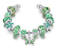 allergy charm bracelet - DIY green bead bracelet allergy free silver plated women charm chain fashion accessories female lovely bead strands