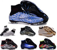 Wholesale High quality soccer boots acc man superflys boy football shoes high top soccer boots ag crampons de foot hautes chevilles mens soccer cleats