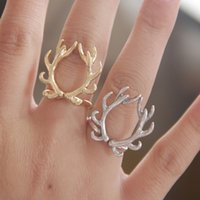 antler design - Europe New Cute Deer Antlers Design Finger Rings Fashion Retro Animal Adjustable Size mm Animal Rings For Women Girl Jewelry