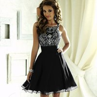 A-Line backless homecoming dress - Black Crystal Backless Homecoming Dresses O neck Beaded Rhinestones A Line Chiffon Cocktail Party Gowns th Grade Graduation Dresses