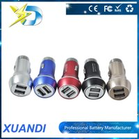 Wholesale 5v A cell phone Dual USB Aluminum Car Charger Adapter for iPhone s and samsung DHL Free