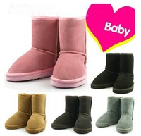 Wholesale 2017 new Children Snow Boots Kids Boys Girls Cowhide Shoes Baby Winter Waterproof Cow Leather Boots Warm Free Drop Shipping