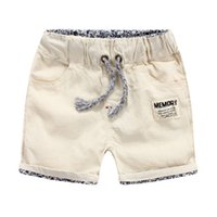 bamboo clothing kids - Korea children clothing Baby boys shorts Kids Contrast waistband rolled hem breathable washed cotton linen bamboo beach shorts China supply
