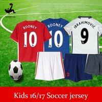 Wholesale IBRAHIMOVIC POGBA kids boy kit United Soccer Jerseys Uniforms HOME RED SCHWEINSTEIGER ROONEY Manchesterees Football shirts