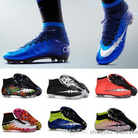 Wholesale Men Mercurial Superfly FG CR7 Soccer Shoes Children Soccer Cleats Laser original Kids Boys football boots women Girls Football Shoes
