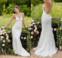 Wholesale Sexy Straps Beach Wedding Dresses Sweetheart Backless Lace Bridal Gowns Sleeveless Floor Length Cheap Lace Wedding Gowns