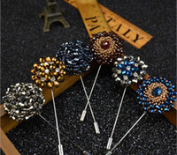 Wholesale 2016 Newest Daisy Flower Lapel Pins Beaded Floral Men Lapel Pin Crystal Men Brooch for Suits Handmade Stick Brooch Pins Colors