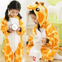 Wholesale Child Unisex Pajamas Kids Animal Costume Cosplay Sleeping Wear Cute Giraffe Flannel Soft Home Wear Halloween Gift K119E