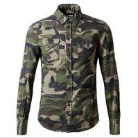 Cheap New arrivial Brand new men's long sleeve denim shirt mens camouflage slim Wash Vintage denim shirt casual shirt free shipping