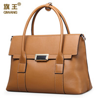 Wholesale Qiwang Large Size Handbag Retro Bag Real Leather Luxury Brand Tote Bag Flap Closure Fashion Metal Lock Handbag Purse Women