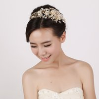antique gold jewlery - Gold Vintage Bridal Jewelry Headpiece Imitation Pearl Hair Accessories Crystal Hair Band headbands Bridal Crown Tiara Wedding Jewlery