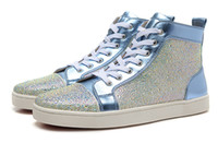 Cheap New 2016 fashion men women blue suede leather with white rhinestone high top sneakers,designer crystal red bottom sports causal shoes 36-46