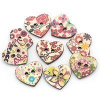 Wholesale Decorative Buttons Wood Sewing Buttons Scrapbooking Pattern Printed Heart Mixed quot x quot