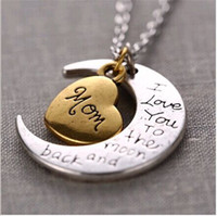 Wholesale 2016 Hot Sale I Love You To The Moon and Back Necklace Lobster Clasp Pendant Necklaces European Charms Gold Plated Alloy Heart Chokers