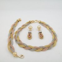 Wholesale Nigeria and Africa wedding jewelry gold thread lace popular new high end products necklaces and earrings jewelry sets