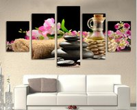 abstract art paintings images - Fashion piece Modern SPA Flower and stone Paintings HD Large image canvas wall Art Home Decorative hanging Picture H089