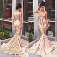 Wholesale Satin Red Floor Length Gown - Mermaid Formal Evening Dresses With Gold Lace Applique 2016 Sexy V Neck Sweep Train Long Formal Women Prom Gowns Evening Wear