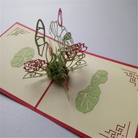 Wholesale 3D diy stereo lotus greetin card creative Postcard paper pure Handmade gift party invitations to send their loved ones the best gift