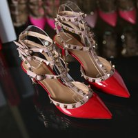 Wholesale Sexy Red Sandals Low Heel - Hug Me Women Shoes 2016 New Arrival Summer Rivet Pointed Stiletto Sandals Shoes Sexy Heels Shoes MK-632
