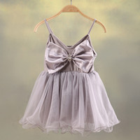 Ball Gown beautiful sundresses - New Princess beautiful Ball Gown KIDS Girls pure color sundress with big bow suspender dress Children s Day birthday party tutu cloth