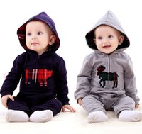 Wholesale Ropa Bebe Nacido Spring Autumn Fashion Newborn Baby Jumpsuit Children Boys Girls Hooded Romper Clothes Lovely Cartoon Leotard