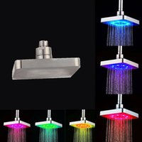 Wholesale 6 quot Bathroom LED Light Shower Heads Multi colors Changing Square Rainfall Top Shower Head LED Showers Newest