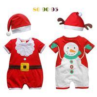 Wholesale 2016 Winter Newest Baby Infant Christmas Santa Clothes Cotton Snowman Santa Bodysuit With Hat Set Boys Girls Newborn Romper