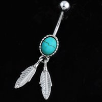 belly jewelry feather - 3pcs luxury vintage turquoise feather pendant dangle navel belly button ring body piercing jewelry