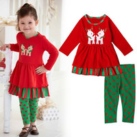 Wholesale Newest Girls Childrens Christmas Clothing Sets Spring Autumn Dresses Pants Xmas Outfits Santa Kids Clothes Boutique Clothing