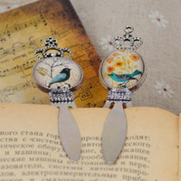 Wholesale Glass cabochon bookmarks for book Cute cartoon bird flowers Pattern Design bookmark Stationery office school supplies