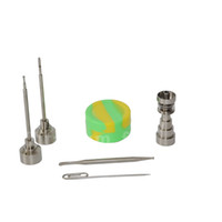 Wholesale 6 in Titanium nail with Titanium carb cap with random Silicone Jar Container with Real Ti dabbers