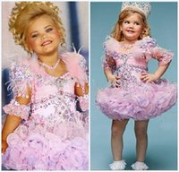ball gown feathers - Fantasias Eden Wood Baby Toddler Pageant Dresses For Girls Glitz Rhinestones Ball Gown Pink Feathered Kids Party Dresses
