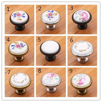 Wholesale Fashion Hot Vintage Ceramic Alloy Door Handles White Bronze DIY Home Kitchen Shoe Cabinet Cupboard Wardrobe Knobs Drawer Closet Locker Pull