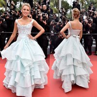 art deco festival - 2016 Cannes Film Festival Evening Dresses Tiered Ruffles Scoop Neck Beaded Prom Dress Flower Applique Sleeveless Red Carpet Celebrity Gowns
